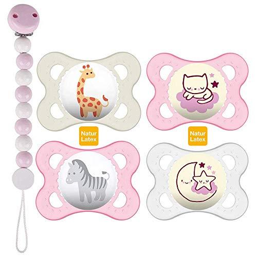 MAM Day & Night LATEX Lot de 4 tétines pour fille avec 2 boîtes de transport stérilisées, attache-tétine en bois Rose et blanc