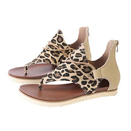 SOIMISS1 unid Mujeres Sandalias Planas de Leopardo Vintage Sandalias cómodas de Moda Zapatos de Verano para Mujer Dama -tamaño 39