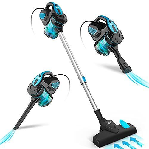 INSE Aspirador con Cable, Aspiradora Escoba con Cable Succión Poderosa de 18Kpa, Aspiradora Escopa 3 En 1 Vertical y de Mano para Hogar, 600W, 1L, Hepa Filtro Lavable, para Alfombras, Sofas, Mascotas