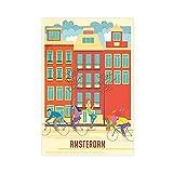 Póster vintage de Ámsterdam Londres Roma Viajes Rotterdam París Países Bajos II lienzo arte pared arte sala dormitorio decoración Unframe: 30 x 45 cm