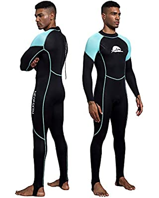 NeopSkin Diving Skin Women Men Youth 2mm Neoprene Wetsuit One Piece Full Body Dive Suit Thin Wet Suits for Scuba Diving Snorkeling Surfing Swimming (Men's Black/Aquamarine, Men's Small)