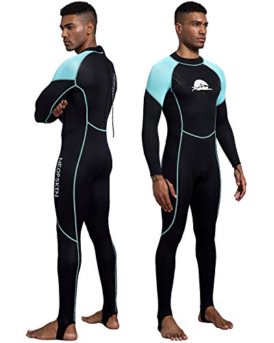 NeopSkin Diving Skin Women Men Youth 2mm Neoprene Wetsuit One Piece Swimsuit Full Body Dive Suit Thin Wet Suits for Diving Snorkeling Surfing Swimming Canoeing (Men's Black/Aquamarine, X-Small)