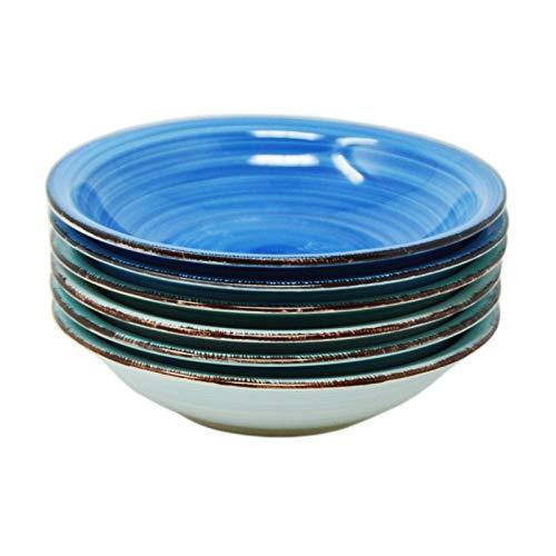 DRULINE 6er-Set Sky Suppenteller Maritime Blautöne | 650 ml | Ø 21.5 cm | Salatteller rund | Servier-Schale | Steingut-Teller |Tiefteller,Premium Porzellan