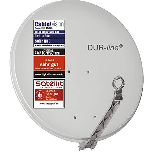DUR-line Select 75cm x 80cm Alu Satelliten-Schüssel Hellgrau - [ 3X Test SEHR GUT *] Aluminium Sat-Spiegel