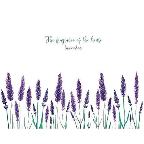 PUYIQARE 50X71Cm Púrpura Lavanda Etiqueta de la Pared Fondo de la Sala de Estar Decoración del hogar Calcomanías artísticas Flor romántica Kick Line Mural