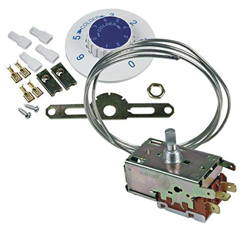 Thermostat Kühlthermostat Kühlschrank Kühlgerät mit automatischer Abtauung Alternativ Ranco VT9 K59-L1102 wie VT91200mm Kapillarrohr 3x6,3mm AMP