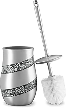DWELLZA Toilet Bowl Cleaner Brush and Holder Set - Silver Mosaic Collection - Decorative Toilet Scrubber - Silver Bathroom Accessories - Good Grips Toilet Brush and Holder -  Silver Gray