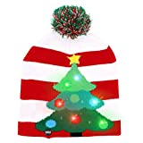 OurWarm LED Christmas Beanie Light up Christmas Hats, Knit Hats with 6 Colorful LED Lights, Unisex Winter Snow Hat Sweater Ugly Holiday Hat Party Beanie Cap