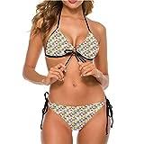 shirlyhome Bikini Swimwear Womens Swimwear Sexy Tie Side French Breakfast with Mocha