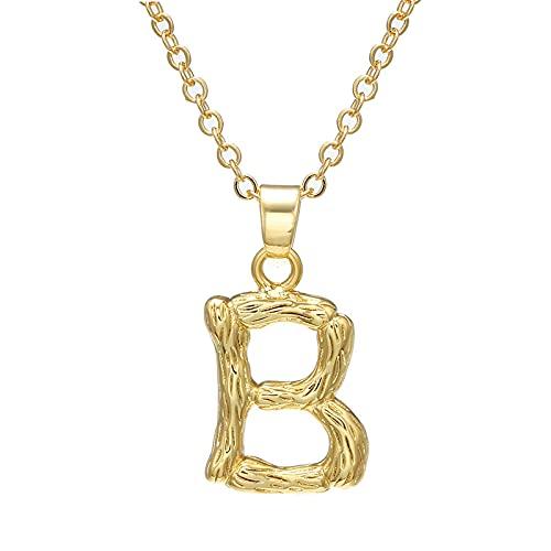 Collar personalizado, collar colgante creativo, colgante de letras de bambú personalizado, chapado en oro de cobre, adecuado como regalo festivo