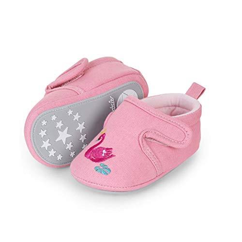 Sterntaler Baby-Krabbelschuhe für Mädchen, Rutschfeste Sohle, Klettverschluss, Schwanmotiv, Farbe: Rosa, Größe: 21/22, Art.Nr.: 2302163.0