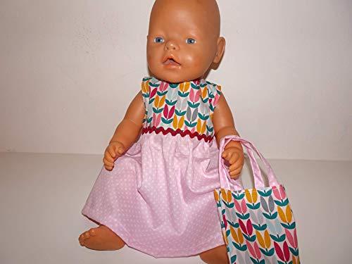 maderegger Sommerkleid für Puppe Größe 40-45 cm mit dazu passendem Täschchen handmade