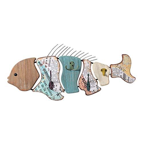 Teri Perchero de Pared Porche de Madera Colgante de Pared Decorativo Gancho Cap Llave Colgando Ganchos de Colgar Los Huesos de Pescado Perchero la decoración del hogar (tamaño : 62x28cm)