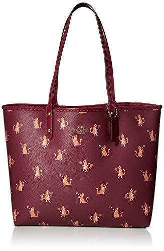 COACH Party Cat Print Reversible City Tote Dark Berry Multi/Dark Berry One Size