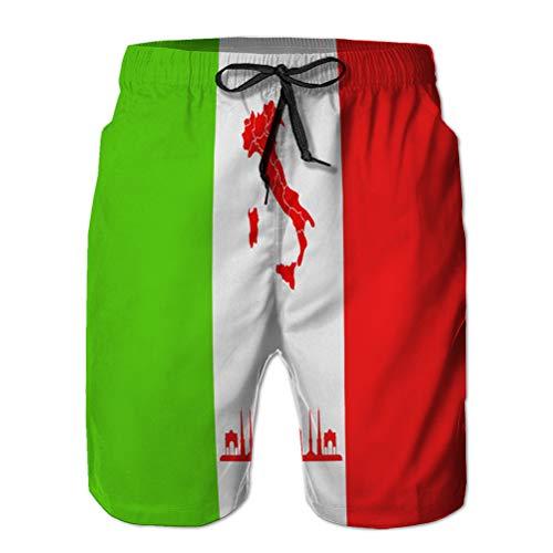jiilwkie Herren Badehose Beach Board Shorts Karte Italien M