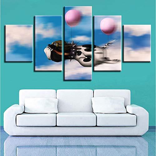 Wangjingjing1 kunstdruk op canvas, 5 stuks dieren, hond en ballonnen om zelf te maken, motief: kunstwerken 40X60/80/100CM Geen frame.