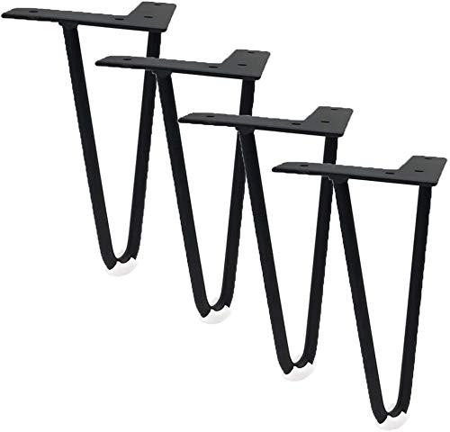 CYSHAKE Set von 4 Möbelfüße Metall Möbelfüße for Tisch Betten Schränke Sofa Couch Schreibtisch Hocker Beine Hairpin Designermöbel Riser Zubehör Ersatz mit Schrauben inklusive