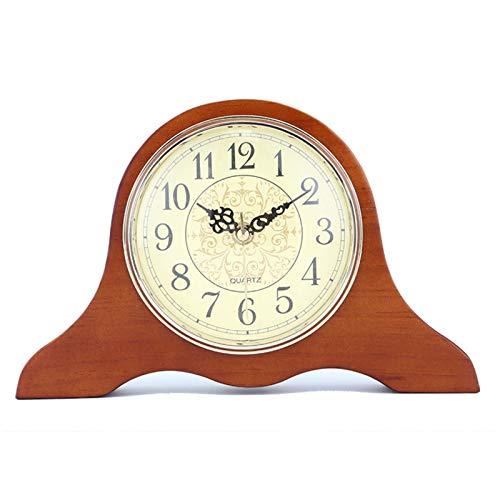 YQY Reloj de Manta de Madera, Reloj de Mesa silencioso de la Vendimia, Reloj de Escritorio de Mantilla de pie para la Sala de Estar Dormitorio para el hogar Decoraciones de Escritorio de la Cama