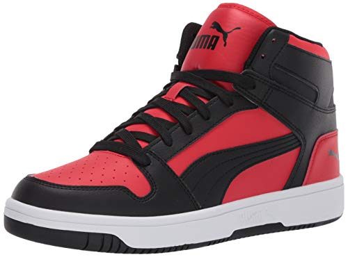 PUMA Rebound Layup, Zapatillas Deportivas. Unisex Adulto, High Risk Red Black-Camiseta de Manga Corta, Color Blanco, 36 EU