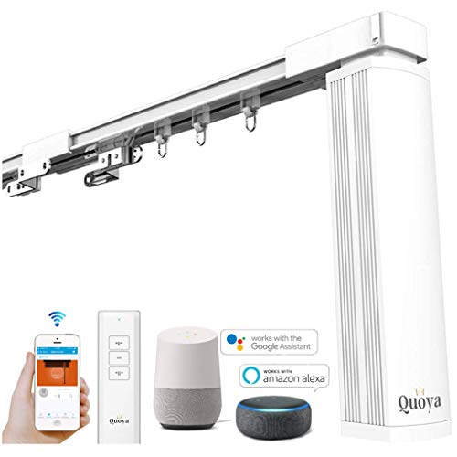 Quoya Smart Curtains System, Electric Curtain Track with Automated Rail【Motorized and Adjustable Tracks/Rod/Pole (up to 3 metres / 118 inches)】【Quoya WiFi Motor compatible with Alexa】