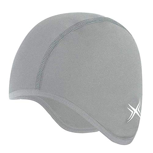 BALEAF Men Cycling Cap with Fur Under Helmet Bicycle Skull Cap with Ear Cover (Grey)