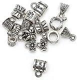 LiuliuBull 50 stücke Antike tibetische Silberne großes Loch europäische perlen schieberstecker Charms für schmuck Finding zubehör hohl perlen (Color : H0467)