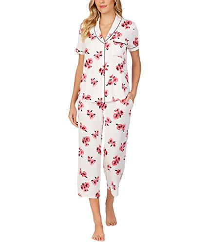 Kate Spade New York Modal Jersey Cropped PJ Set Mini Rose Pop XS