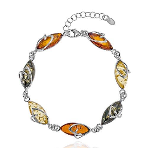 Copal Pulsera de ámbar para mujer, plata de ley 925, natural, multicolor, longitud ajustable, estuche de joyería, regalo para novia