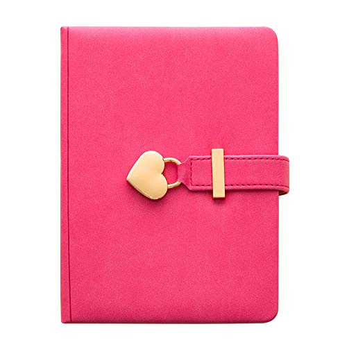 Lirener Secret Diary Notebook with Heart Shaped Lock and Key, PU Leather Girls Journal Notebook with Heart Padlock, Lockable Diary Travel Diary, Christmas Birthday Gift for Girls Kids, 135x180mm