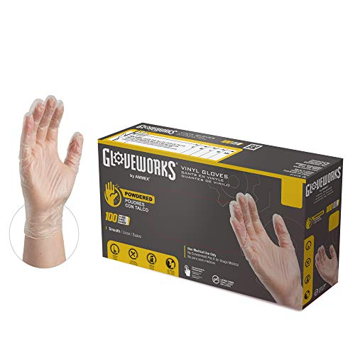 AMMEX GLOVEPLUS Industrial Clear Vinyl Gloves, Box of 100, 4 mil, Size Small, Latex Free, Powdered, Food Safe, Disposable, Non-Sterile, IV42100-BX