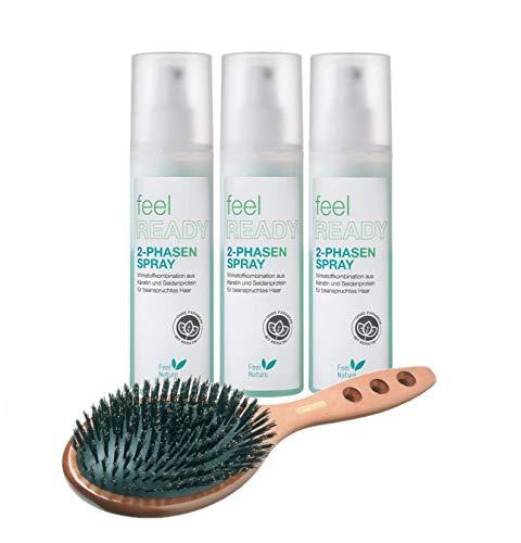 Feel Nature 2 Phasenspray 200 ml 3 Stück NEUE Aufmachung Feel Ready & Hairforce Haarbürste Palisander