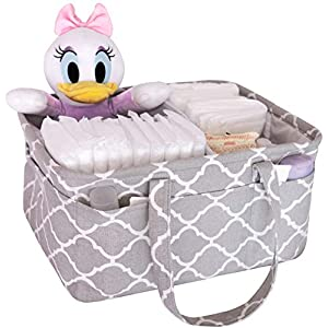 Mommy.Ahn Baby Diaper Caddy Organizer – Nursery Storage Bin and Car Organizer for Baby Essentials – Ideal Baby Shower Basket for Boys and Girls – Large Diaper Tote Bag for Changing Table (Grey)