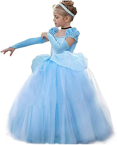 TYHTYM Cinderella Princess Dress Puffy Sleeve Costume, Special Occasion Dresses for Toddler Girls Age 4-5 Years, Ultra Soft Lace Fancy Gown Birthday Party Dress Up, Blue