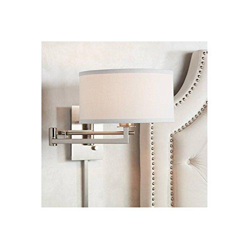 Aluno Modern Swing Arm Wall Lamp Brushed Nickel Plug-in Light...