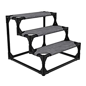 Veehoo Sturdy Pet Steps – Pet Stairs for Small Dogs and Cats, Doggie, Puppy and Older Cats Step for High Bed Couch, Black Silver