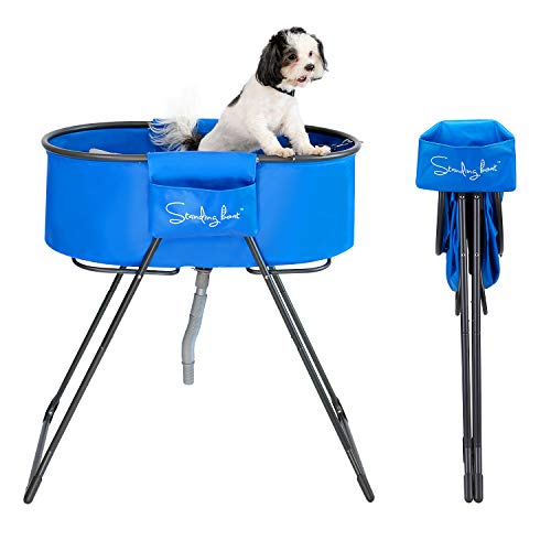 Standing Boat Elevated Folding Pet Bath Tub and Wash Station for Bathing, Shower, and Grooming,...