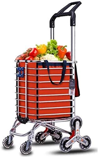 SUOMO Carro Compra, Aleación de Aluminio Ligero Doble Mango Doble Uso de Compras Trolley Plegable 8 Rueda Comprador de Gran Capacidad