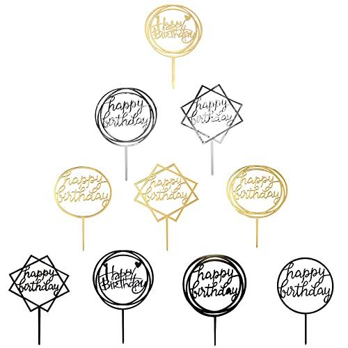 Cyleibe 10 Stück Happy Birthday Cake Topper Set, Acryl Glitter Cupcake Topper für Geburtstagspartys Dekoration, Tortenstecker für Geburtstagsdeko für Mädchen, Kinder, Hochzeit, Mutter