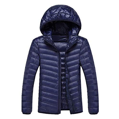 Chaqueta de plumón ultraligera para hombre, ligera, con capucha, con capucha, portátil, para invierno, para hombre