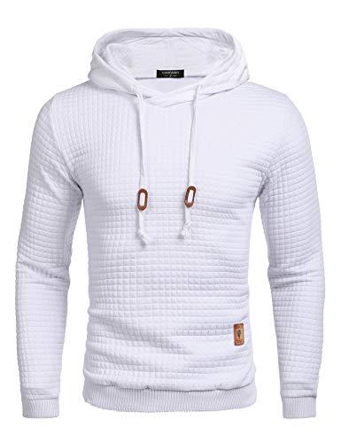 COOFANDY Men's Sweatshirt Hipster Gym Long Sleeve Drawstring Hooded Plaid Jacquard Pullover Hoodies White