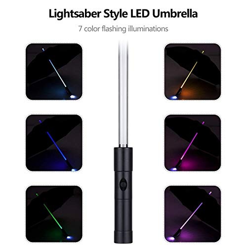 LED Umbrella - Lightsaber Laser Sword Light up Umbrella with 7 Color Changing On the Shaft/Built in Torch at Bottom by Bestkee (Black)