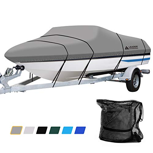 Leader Accessories 600D Polyester Runabout Boat Cover (Model A: 14'-16'L Beam Width up to 68'', Grey)