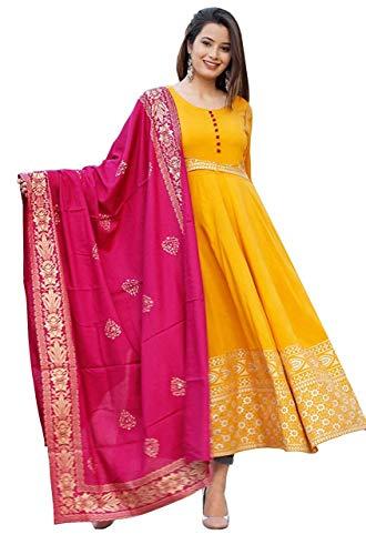 Fabrycle Latest Women and Girls Trending Ethnic Wear Soft Rayon Fabric Mustard/Yellow Color Gold Printed Long Anarkali Kurti with Pink Banarasi Dupatta