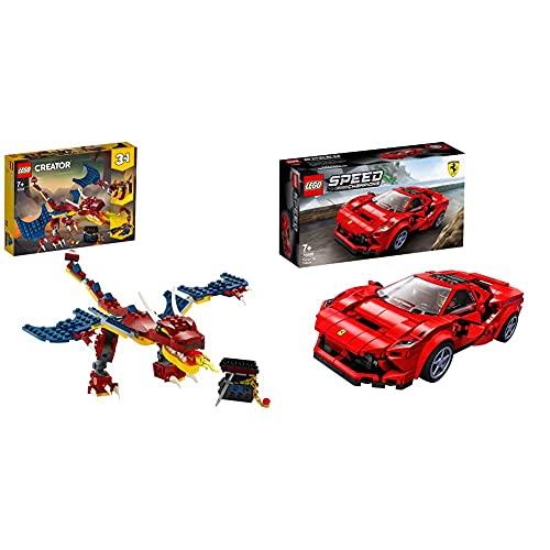 Lego 31102CreatorDragónLlameanteSetDeConstrucción3En1DientesDeSableOEscorpión + 76895 Speed Champions Ferrari F8 Tributo Juguete De Construcción