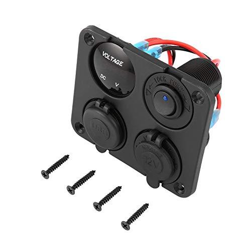 Yukiko Dual USB-poorten + LED-voltmeter + 12-24V Power Socket + On-Off Switch Panel blue light zwart & rood & blauw