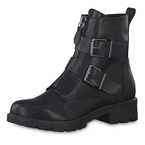 Tamaris Damen Stiefeletten 25414-23, Frauen Biker Boots, Bootie flach Damen Frauen weibliche Lady Ladies feminin elegant,Black MATT,39 EU / 5.5 UK