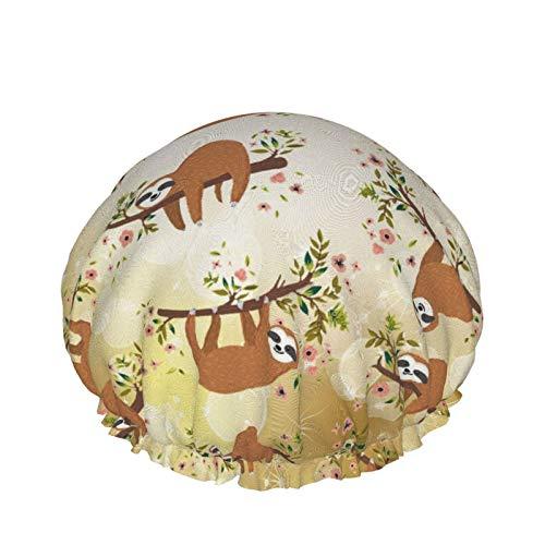 Cute Sloth Climb Tree Shower Cap Waterproof Bath Caps Reusable Shower Hair Caps Double Layer Soft Sleeping Bathing Bonnets Adjustable Hair Cover For Women Girls