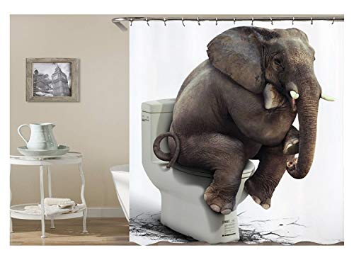 AnazoZ Duschvorhang Anti-Schimmel, Wasserdicht Gardinen an Badewanne Antibakteriell, Bad Vorhang für Dusche 3D Elefant in Toilette, 100prozent PEVA, inkl. 12 Duschvorhangringen 165 x 180 cm