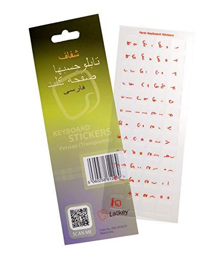 Persische Tastatur-Aufkleber für PC, Laptop, Computer-Tastaturen (Transparent Hintergrund, roten Buchstaben auf Löschen Labels)