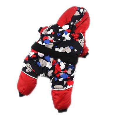 Roofeel Rose Bloem Puppy Hond Jumpsuit Voor kleine Chihuahua Teddy Speelgoed Poedel Yorkshire Winter Warm Huisdier Hond Trainingspakken Kleding, No 14, Rood Bloemetje